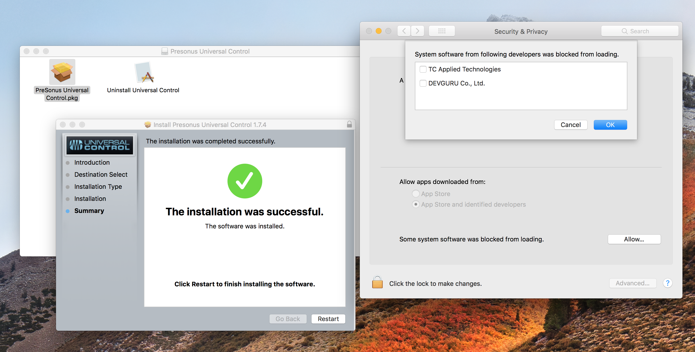 Installation Issues with Universal Control on High Sierra Mac OSX ...