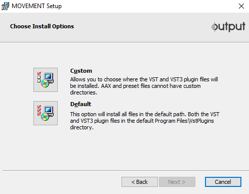 Installing the Output Movement Plug-in that comes with the