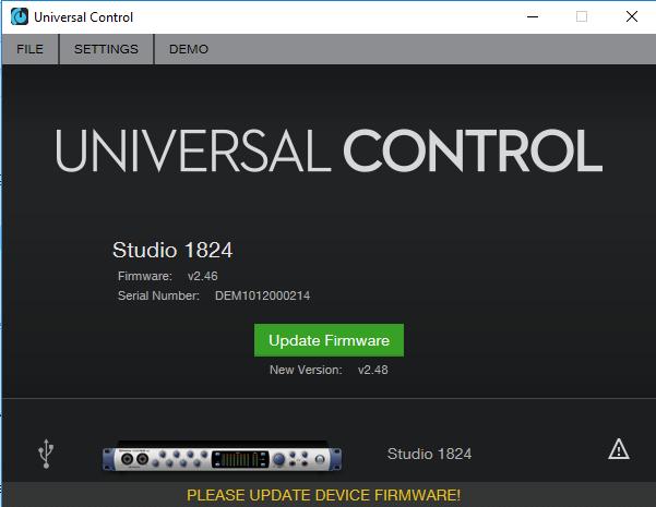 Studio 1824 - How-To Revert to Factory Default Firmware
